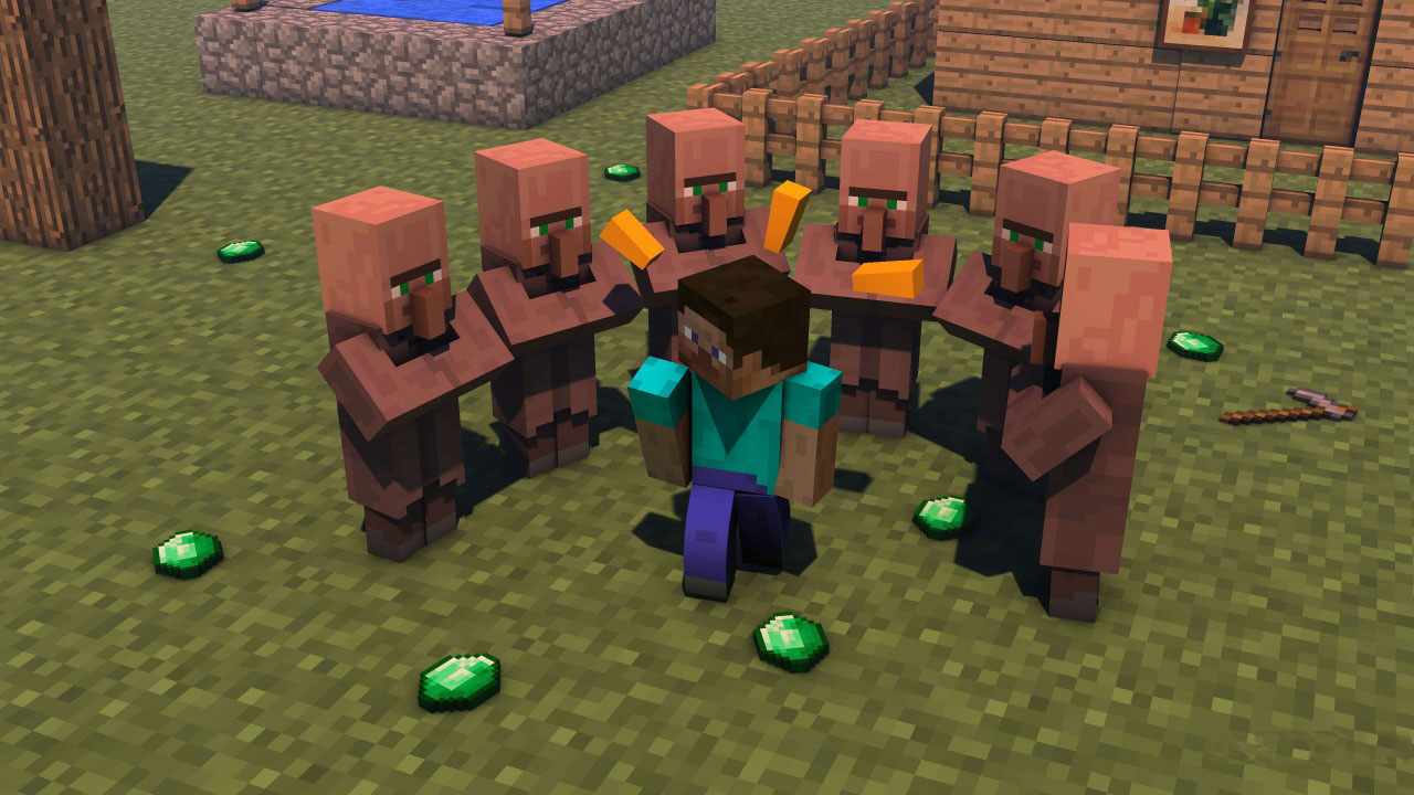 Minecraft - Steve and Villagers