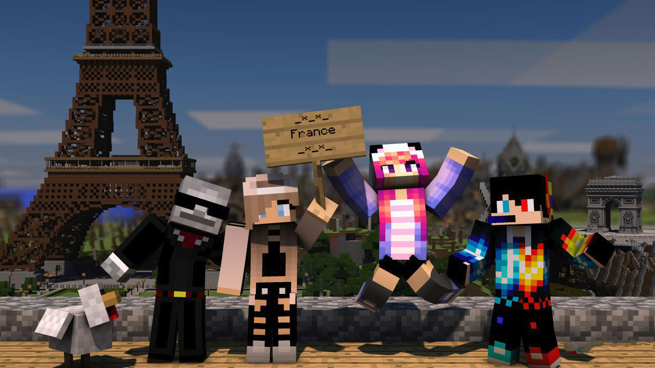 Minecraft in Paris with Skins