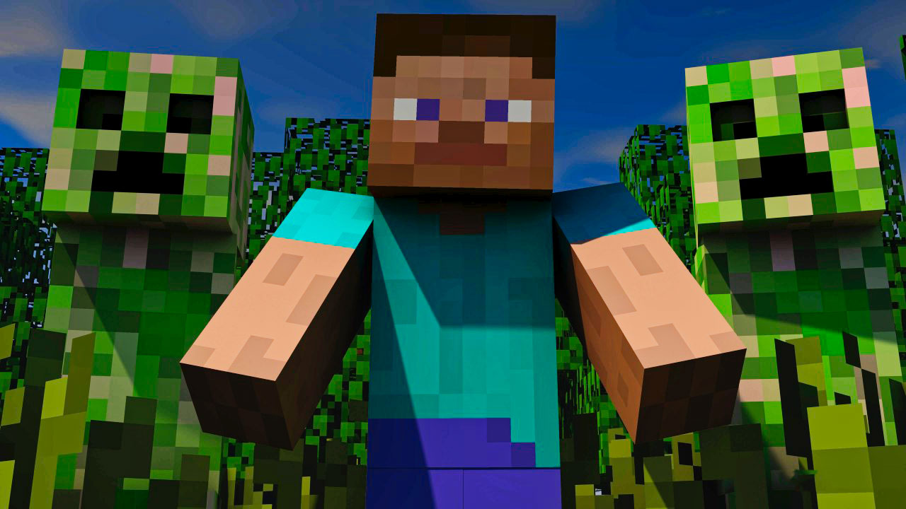 Steve with Creepers in Minecraft
