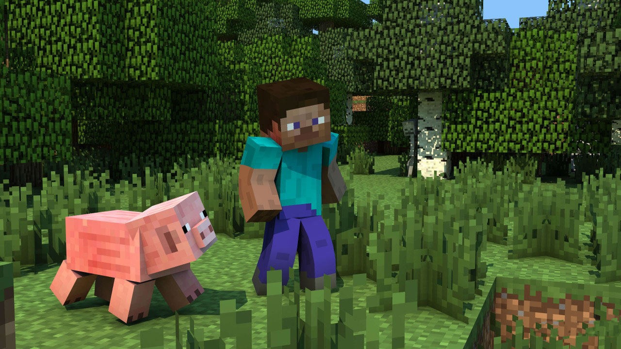 Minecraft - Steve and Pig Walking
